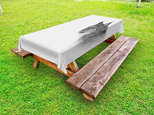 Ambesonne Hunting Outdoor Tablecloth, Lynx in The Central Norway Wild Cat North Cold Snowy Mountain Carnivore Predator, Decorative Washable Picnic Table Cloth, 58