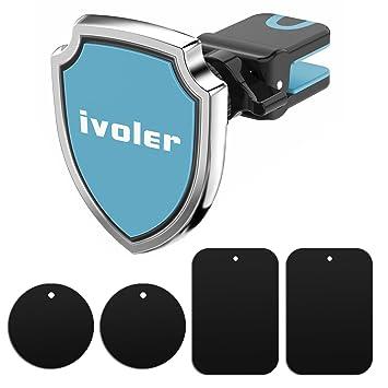 iVoler Soporte Magnético Móvil Coche, Soporte de Movíles para Rejilla de Ventilación de Coche Grip