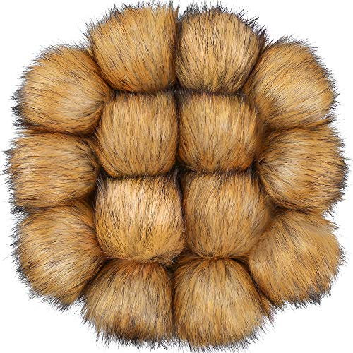 Auihiay 14 Pieces DIY Faux Fur Fluffy Pompom Ball for Hats Shoes Scarves Keychains Bag Charms(Natural Brown)