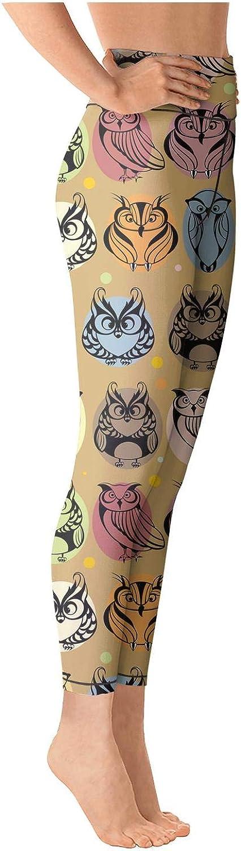 Women Yoga Pants Red Vintage Owl Love You Light Long Yoga Pants Yoga Leggings with Pockets