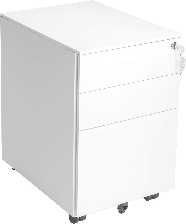 MMT Furniture Designs 3 Drawer White Metal Under Desk Pedestal Unit - Fully Assembled 5 Wheel Anti-Tip Pen Tray