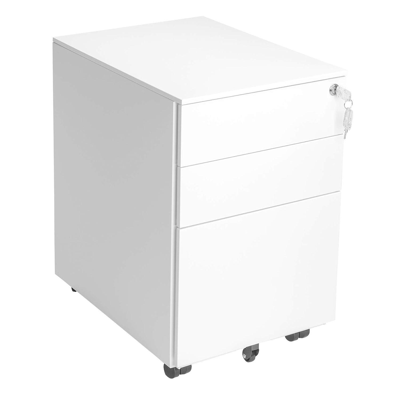 Struttura del Mobile Pre-Assemblata Bianco Comodino Acciaio Ufficio Cassettiere Mobile Armadietto Richiudibile per Documenti con 3 Cassetti e Cartelle Sospese