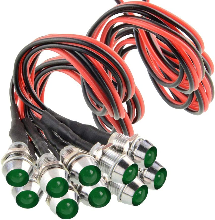 "Amotor 10Pcs 8mm 5/16"" LED Metal Indicator Light 12V Waterproof Signal Pilot Lamp Dash Directional Car Truck Boat with Wire (Green)"