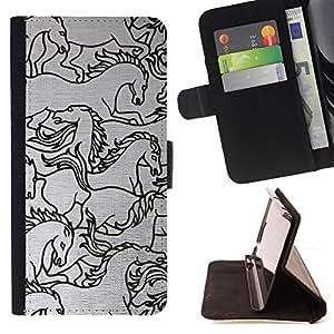 - Queen Pattern FOR HTC One M9 /La identificaci????n del cr????dito ranuras para tarjetas tir????n de la caja Cartera de cuero cubie - horse drawing sketch black white art -