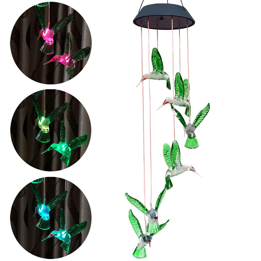Viewpick Solar Wind Chime Changing Colors Six Hummingbird Lamp Waterproof Solar Hanging Light for Home Garden Outdoor Decoration