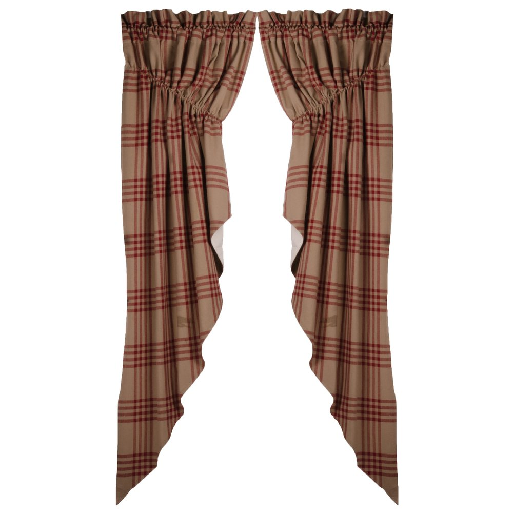 Home Collections by Raghu Chesterfield Check Gathered Swag Oat-Barn Red