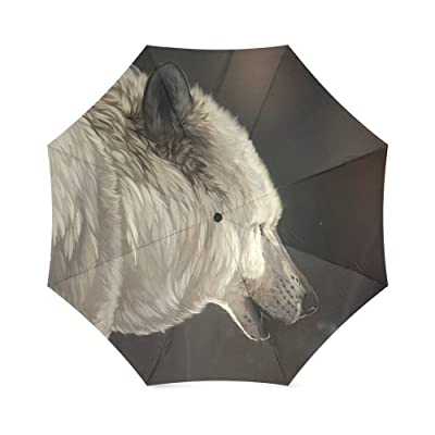 Cool Wolf Folding Rain Umbrella Parasol Windproof Travel Sun Umbrella Compact