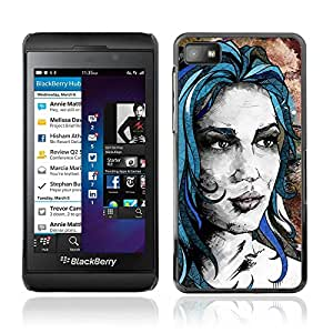 CASETOPIA / Blue Girl / Blackberry Z10 / Prima Delgada SLIM Casa Carcasa Funda Case Bandera Cover Armor Shell PC / Aliminium