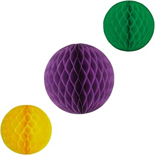 product image for Honeycomb Balls, Set of 3, 12 inch and 8 inches (Mardi Gras - Purple/Yellow/Green)