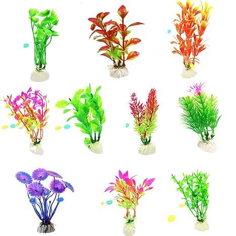 NaiCasy 10pcs Acuario Plantas de Hierba Artificial de la decoración del Acuario Decoración de plástico de