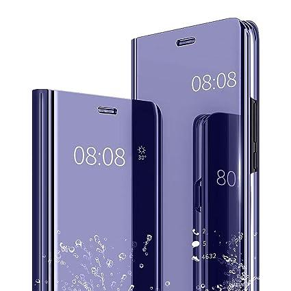 the latest 8da8e 2da5a AIsoar Galaxy J6 2018 Case, Cover Mirror Smart Clear View Window Flip Case  Slim Multi-Function Mirror Case S-View Stand flip Folio Full Body ...