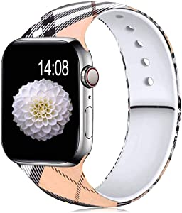 NOY Compatible with Apple Watch Band 40mm 38mm for Women Men, 44mm 42mm Fadeless Printed Silicone Replacement Watch Strap for iWatch Series 5/4/3/2/1