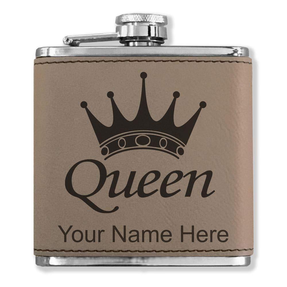 フェイクレザーフラスコ – Queen Crown – カスタマイズ彫刻Included (ライトブラウン)   B071H9BGVB