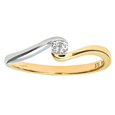Naava Women's 9 ct Two Colour Gold 0.10 ct Round Brilliant Diamond Solitaire Engagement Twist Ring OgXZIA