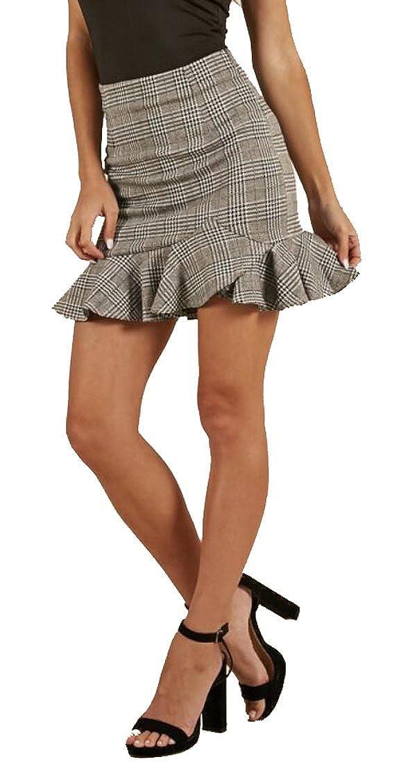6b7b8cdd60 Bravepe Women Ruffle Bodycon Irregular Jegging Plaid Print High Waist Mini  Skirt at Amazon Women's Clothing store: