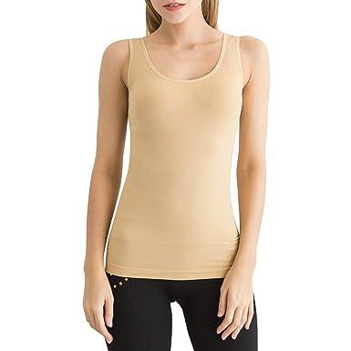 db5a04d2759 SlendShaper Women s Scoop-Neck Tank Top Firm Tummy Control Shaper Seamless Slimming  Shaping Tanks (