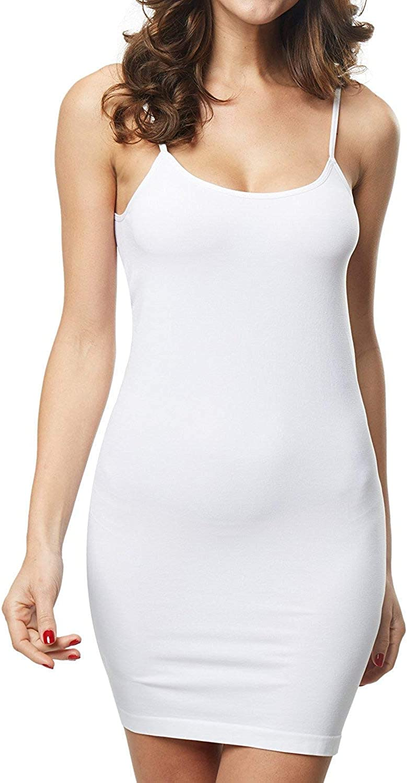 KHAYA Womens Full Slip Seamless Camisole Cami Basic Dress U Neck Strap Nightdress Ladies Silky Sleepwear Underdress Slip