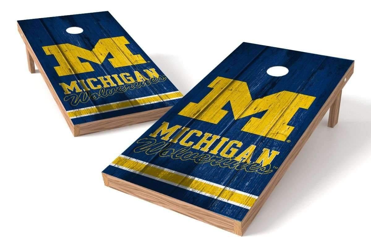 PROLINE NCAA 2' x 4' Michigan Wolverines Cornhole Board Set - Vintage Design