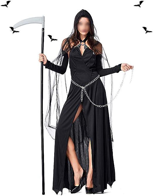 HUOFEIKE Disfraz de Bruja de Halloween, Estilo Sexy Oscuro con ...