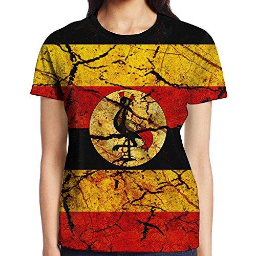 Uganda Flag Woman Short Sleeve Colorful Round eck Fashion T Shirt Printed Funny Tee Shirt (Uganda Christmas Traditions)