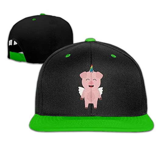 7d6cd17620bc2 Amazon.com  Pig with Unicorn Horn Unisex Hip-hop Baseball Cap Dad Hat  Trucker Hats  Clothing