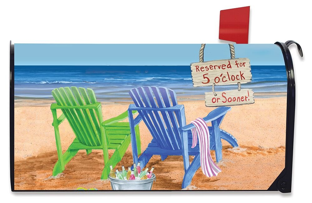 Briarwood Lane Beach Bum Summer Large Magnetic Mailbox Cover Beach Chairs Oversized