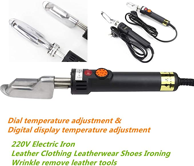 MAXWXKING Handle Electric Mini Leather Iron 220V Wrinkles Removing Smoothing for Leather Clothes Leatherwear Bag Shoes Ironing with Anti-scalding Tape Dial, 150W 50℃~350℃ Adjust Temperature