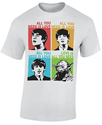 9722a2765 All you need is love Beatles Yoda Mens T-Shirt - WHT - XL: Amazon.co.uk:  Clothing