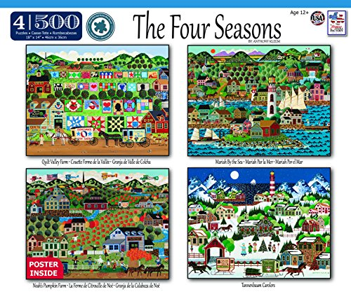 The Jigsaw Puzzle Factory the Four Seasons 4-in-1 Puzzle Pack Toy, Multicolor - 1 Puzzle Pack