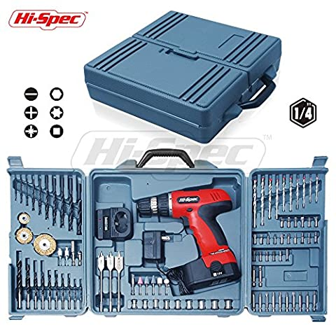 Hi-Spec Do-It-Yourself 18 V Electric Cordless Drill , 16+1 Position Keyless Clutch, Variable Speed - 18v 18v Cordless Drill