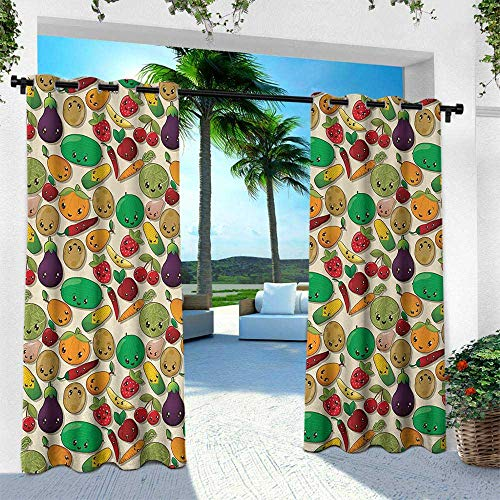 Luau Character Curtain - Anime, Outdoor Privacy Porch Curtains,Various Vegetables and Fruits with Kawaii Faces Healthy Food as Sweet Characters, W96 x L108 Inch, Multicolor