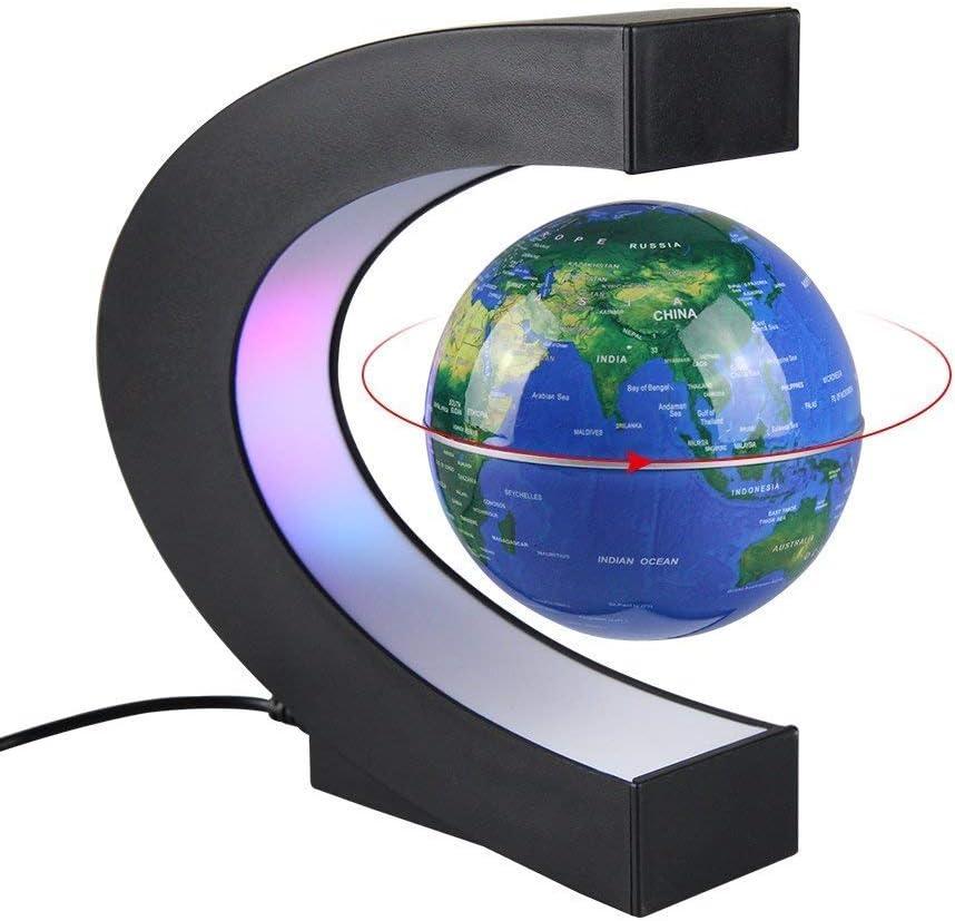 MINGZE C Forma Decoración Levitación Magnética Flotante Mapa de levitación magnética rotación del Mapa del Mundo con Luces LED Tierra Globo para Decoración de Escritorio Regalo de Cumpleaños