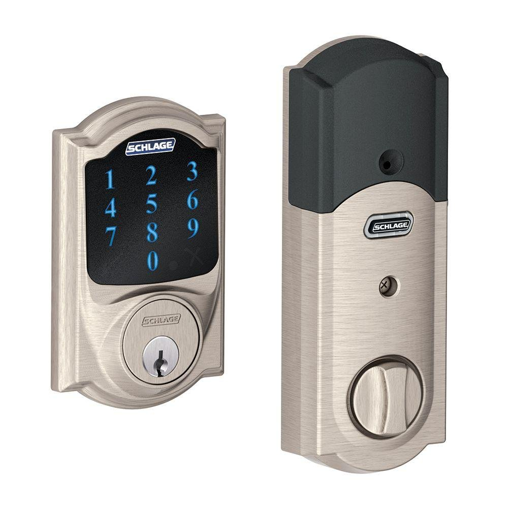 Schlage Lock Company BE469NXCAM619 Connect Camelot Touchscreen Deadbolt, Satin Nickel, Full