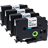 Label KINGDOM Compatible Labels Replacement for Brother P-touch TZ TZe TZe-231 TZ-231 Label Tape for PT-D210 PT-H100 PT-D400AD PT-1290 Label Makers, 12mm 0.47 Inch Laminated Black on White, 4-Pack