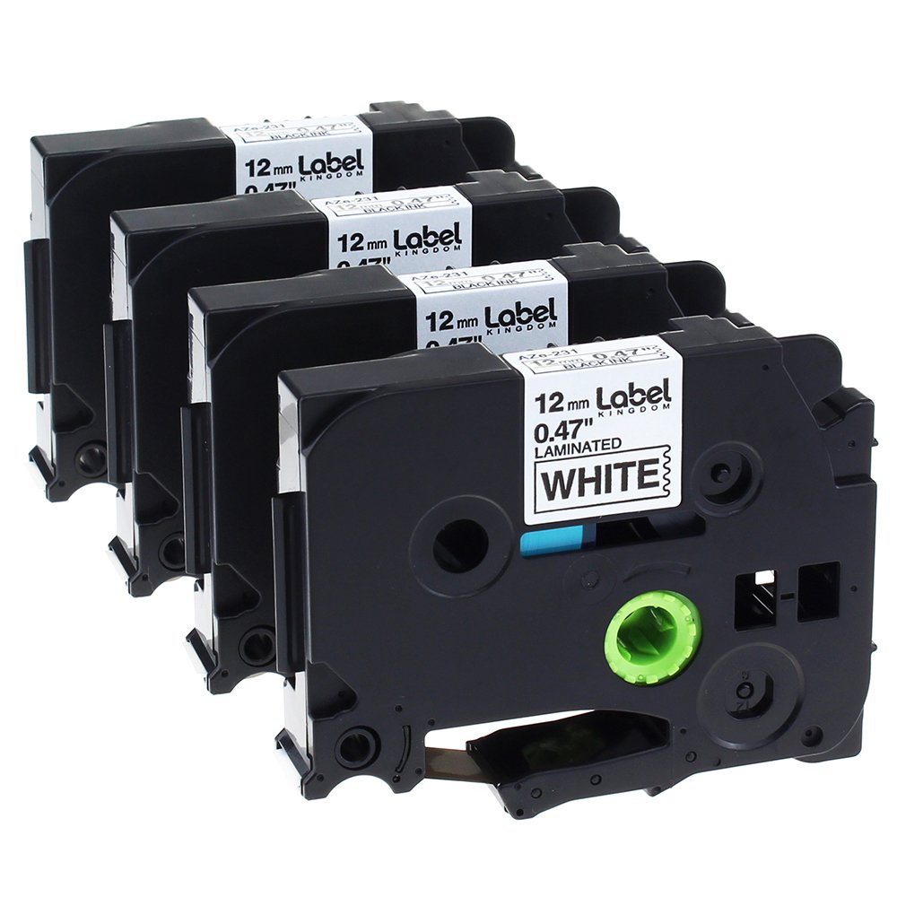 Label KINGDOM 4 Pack Compatible Brother P-touch TZ TZe TZe-231 TZ-231 Label Tape for PT-D210 PT-H100 PTD400AD PT-P700 PTD600 PT-1230PC Labeler, 12mm (1/2 Inch) x 8m (26.2 ft) Laminated, Black on White
