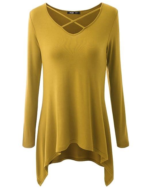 Jusfitsu La Mujer Camiseta Mango Largo Blusa Cuello En V Csasual Elástico Estilo cómodo: Amazon.es: Ropa y accesorios