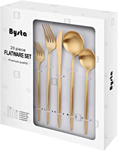 Matte Gold Silverware Set, Bysta 20-Piece Stainless Steel Flatware Set Cutlery Set Service For 4, Satin Finish, Dishwasher Safe, Nice Gift Box