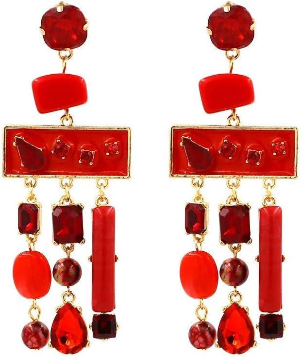 Thumby Ms Wild Aretes/Colgante/Pendientes de Botón, Pendientes de Piedras Semipreciosas Geométricas Cosidas, Pendientes de Borla con Incrustaciones de Bohemia Individual Rojo