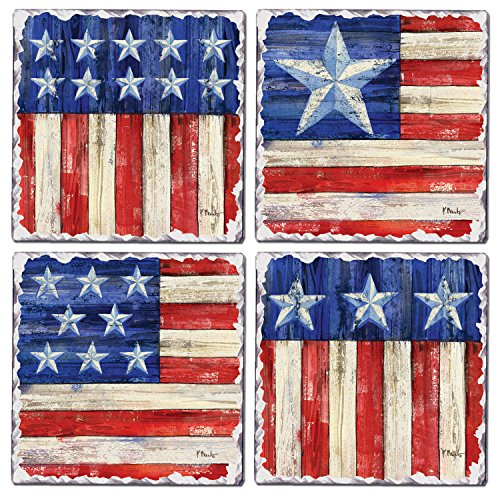 CounterArt Set of 4 Assorted Tumbled Tile Coasters, American Flags