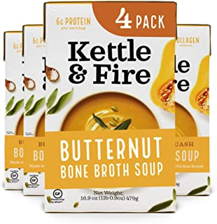 product image for Butternut Squash Chicken Bone Broth Soup by Kettle and Fire, Pack of 4, Gluten Free Collagen Soup on the Go, Paleo, 9 g of protein, 16.9 fl oz