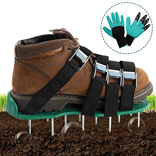 TONBUX Yard Spike Shoes Law Aerator Sandals with 4 Adjustable Straps and Aluminium Alloy Buckles Heavy Duty Yard Grass Aerator with Garden Gloves Universal Size
