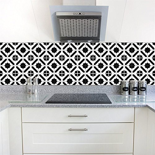 AmazingWall Black and White Moroccan Tiles Sticker Wall Art Decor Mural  Decal Peel and Stick Eco Friendly 5 91x5 91 10 Pcs