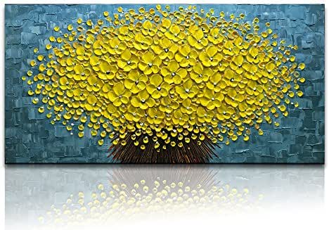 Desihum-Yellow Flowers Oil Painting Modern Floral Canvas Wall Art Hand Painted for Living Room Bedroom Dinning Room (24