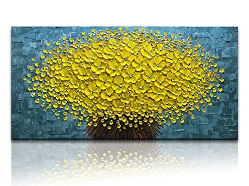 Desihum-Yellow Flowers Oil Painting Modern Floral Canvas Wall Art Hand Painted for Living Room Bedroom Dinning Room (20