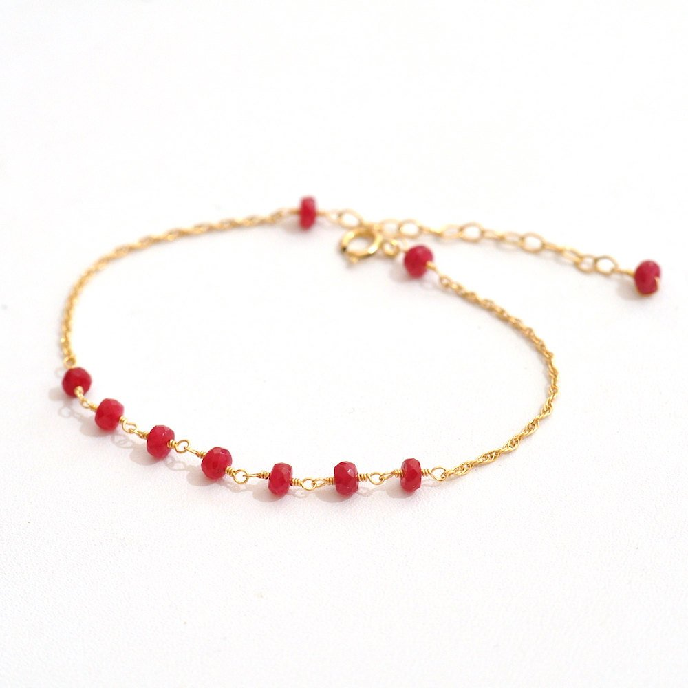 14K Gold. Ruby Bracelet, 14K Yellow Gold Ruby Beaded Bracelet, July Birthstone Jewelry, by Fifi LaBonge
