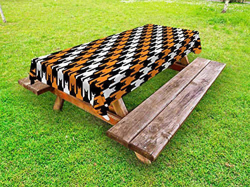 Ambesonne Halloween Outdoor Tablecloth, Digital Style Catstooth Pattern Pixel Spooky Harvest Fashion Illustration, Decorative Washable Picnic Table Cloth, 58 X 104 Inches, Orange Black White ()