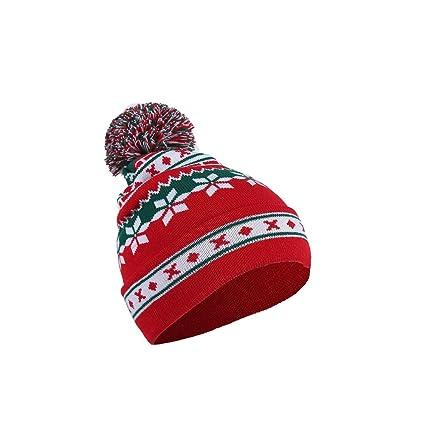 f0bc8990f39 wsloftyGYd Winter Men Women Cute Pompom Christmas Snowflake Beanie Hat  Knitted Ski Cap Autumn Winter Santa