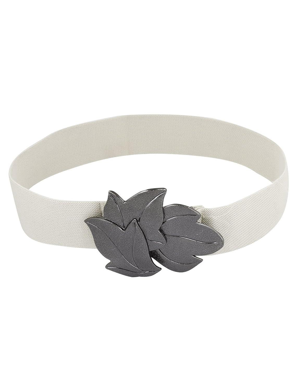 Women Metal Leaf Shape Interlock Buckle 3.8cm Width Elastic Cinch Belt