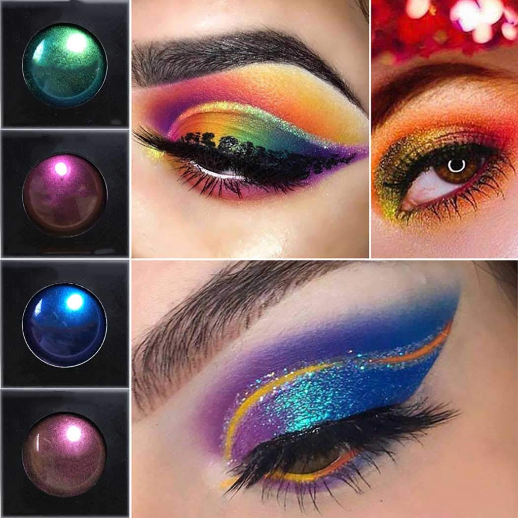 Eyret Diamond Glitter Eyeshadow Powder Metals High-pigments Eyeshadows Matte Silky Natural Color Change Eye shadow Professional Beauty Make up Cosmetics for Women and Girls (Pink 4#)