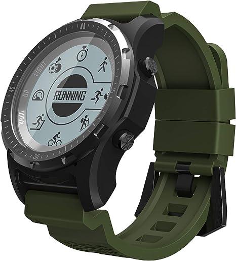SLOUD Smartwatch GPS Anti-Agua Pulsómetro Pulsera Actividad Pantalla Táctil Podómetro Modos Deportes para Android E iOS para Hombres Mujer-Verde: Amazon.es: Deportes y aire libre